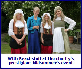 Sister Frances with React staff at the charity's prestigious Midsummer's event